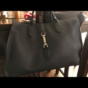 PreOwned Black Jackie Soft Tote Large Leather Bag